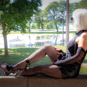 Domina Kat Morgan Detroit black outfit by park