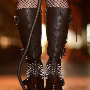 Black Leather studded boots and whip